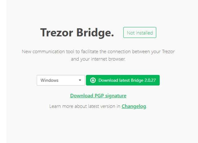 trezor bridge download