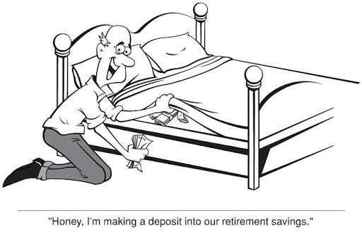 cash stuffed mattress cartoon
